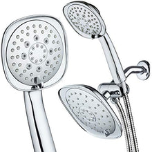 "AquaDance, Chrome Luxury Square High-Pressure Giant 7.3"" Rain Shower Head/Handheld Spa Combo. Extra-Long 72"" Stainless Steel Hose, 3-way Flow Diverter, Finish. Best Quality from Top American"