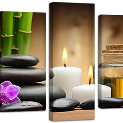 Ardemy Canvas Painting Art Zen Stones Candle Botanical 5 Pieces, Stretched and Framed Bamboo Pictures Prints Artwork Ready to Hang for Bedroom Bathroom Spa Salon Wall Decor (Waterproof