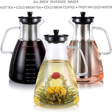 Teabloom Extra-Large Stovetop Safe Glass Teapot + Kettle + Pitcher (68 OZ / 2.0 L / 8 Cups) – for Hot/Iced Tea, Cold Brew Coffee, Fruit Infused Water – 2 Free Blooming Teas Included