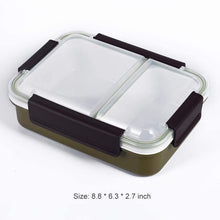 Bento Box 2 Compartments Stainless Steel Lunch Box for Adults and Kids, Portion Control Lunch Containers Leakproof