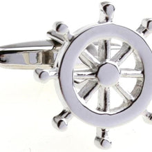 MRCUFF Anchors Ship Wheels USN Navy 4 Pairs Cufflinks in a Presentation Gift Box & Polishing Cloth