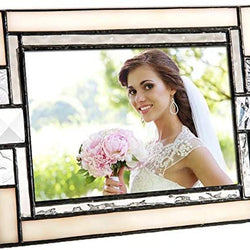 White Picture Frames 4x6 Vertical Photo Home Décor Desk Accessory Wedding Ivory Opalescent Stained Glass J Devlin Pic 407-46V