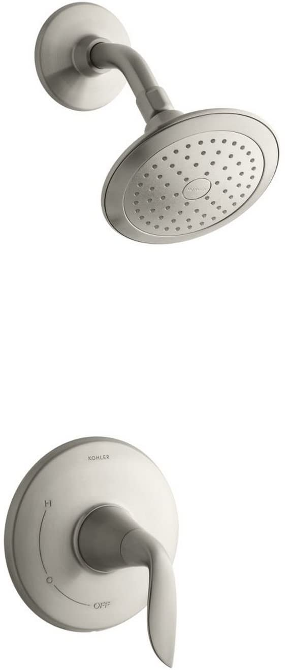 KOHLER K-TS5320-4-BN Refinia(R) Rite-Temp(R) shower valve trim with lever handle and 2.5 gpm showerhead, Vibrant Brushed Nickel