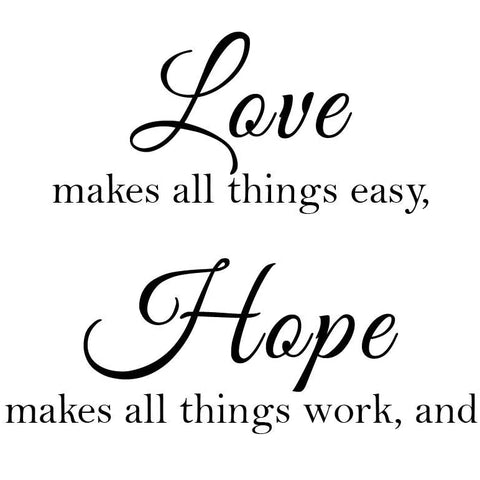 Newclew Faith Makes All Things Possible, Love Makes All Things Easy, Hope Make All Things Work, and Family Makes Life Worth Living Wall Décor Decal Prayer Church Jesus (13Wx21L