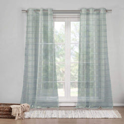 DUCK RIVER TEXTILES - Striped Sheer Grommet Window Curtain 2 Panel Drape Hampstead, 40 X 84 Inch, Grey