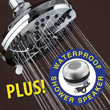 AquaDance High-Pressure Setting inch (Spiral 6-Function Rainfall Shower Head and Speaker), Chrome