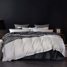 SLEEPBELLA Duvet Cover Queen, 1000 TC Egyptian Cotton Off-White & Dark Grey Bedding Sets with 2 Pillow Shams, 1 Queen Duvet Cover