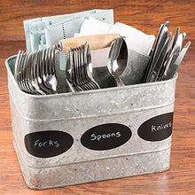LifeSmart USA Galvanized Drinks Silverware Flatware Caddy Organizer for Kitchen Countertop Storage Dining Table Comfortable Wooden Handle Chalkboard Labels and Marker