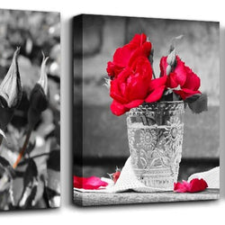 wall art for bedroom Simple Life Black and white rose flowers red Canvas Wall Art Decor 12