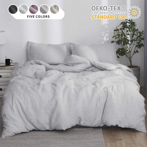 Simple&Opulence 100% Linen Duvet Cover Set 3pcs Stone Washed Natural Belgian Flax Basic Style Solid Color French Bedding with Button Closure (Full