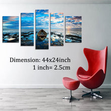 HLJ ART Contemporary Sea Boat Beach Landscape Canvas Wall Art Print for Office Living Room Decor (M, A02)