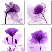 HLJ ART 4 Panels Crystal Theme Giclee Flickering Blue Flowers Printed Paintings on Canvas for Wall Decor (Purple