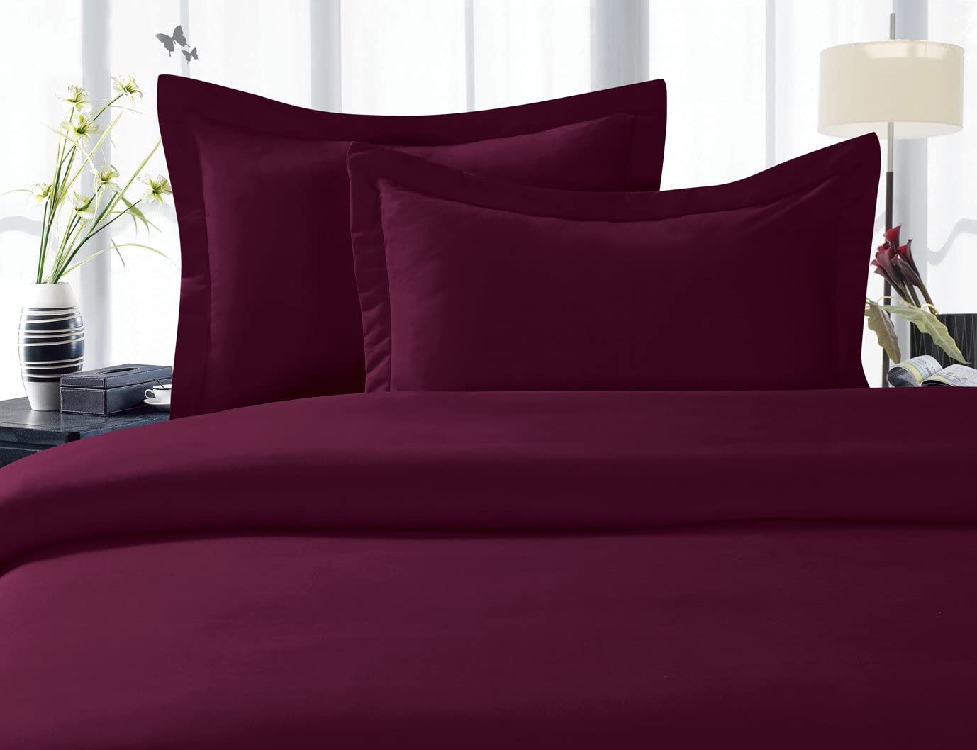 Elegant Comfort 1500 Thread Count Egyptian Quality 3 Piece Wrinkle Free and Fade Resistant Luxurious Duvet Cover Set, Full/Queen, Eggplant Purple