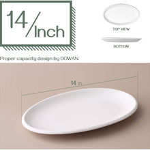 DOWAN Porcelain Oval Serving Platters - 14 Inches 2 Packs Lagre Oval Serving Plate for Meat, Appetizers, Dessert, Sushi, Fish, Party, White, Stackable