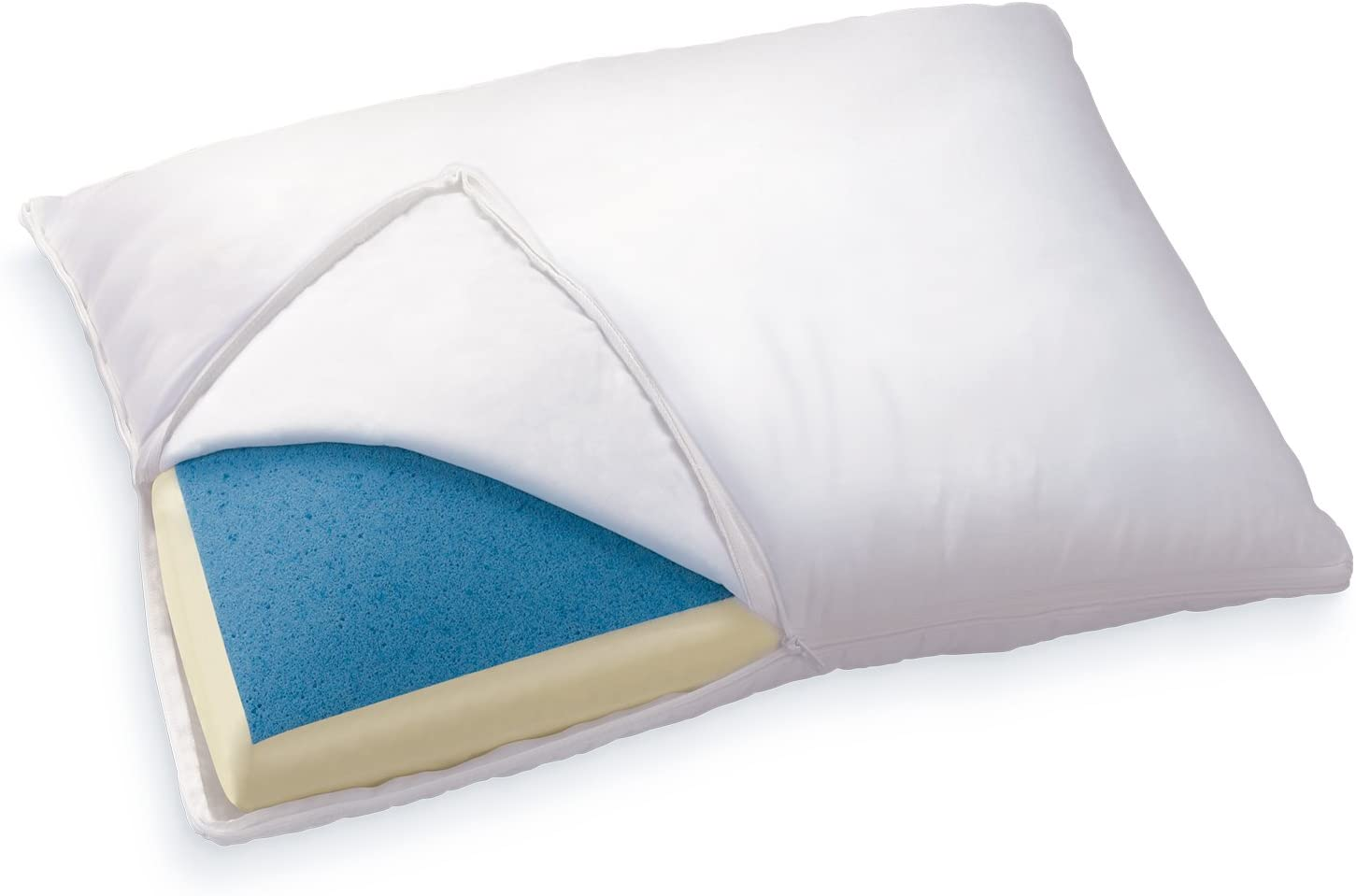 Sleep Innovations Reversible Cooling Gel Memory Foam & Memory Foam Pillow with Hypoallergenic Cover, Made in The USA with a 5-Year Warranty