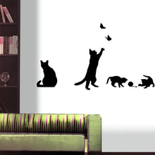BooDecal Black Cats Design Catching Butterfly Playing with Ball Art Peel Stick Wall Stickers DIY Vinyl Wall Decals Applique for Home Stairway Decor Baseboard