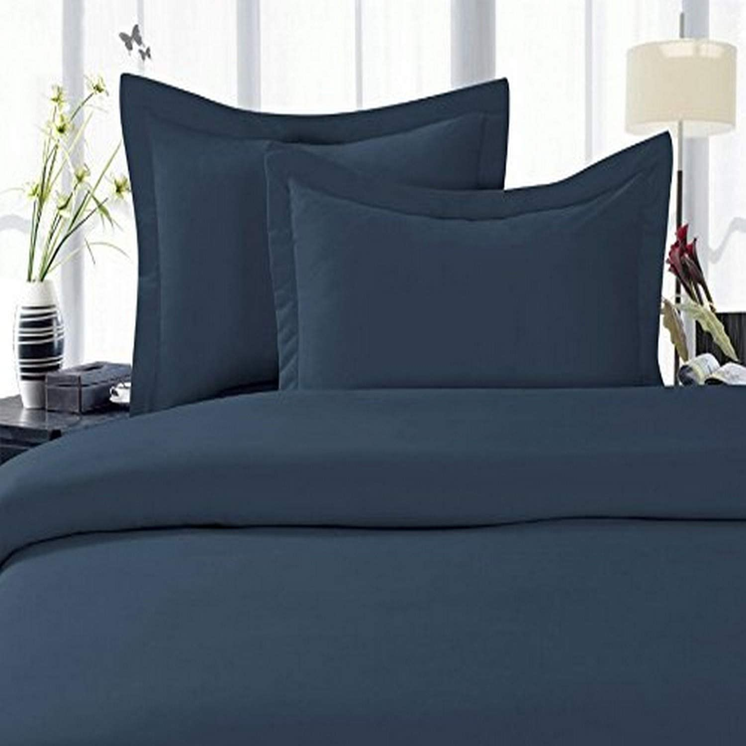 Elegant Comfort 1500 Thread Count Egyptian Quality 3 Piece Wrinkle Free and Fade Resistant Luxurious Duvet Cover Set, Full/Queen, Navy Blue