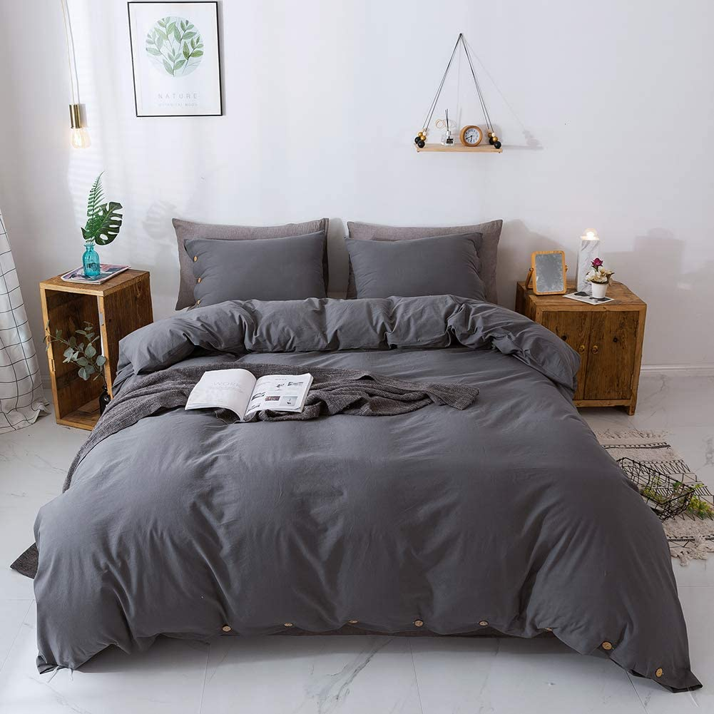 Miffrovn Grey Washed Cotton Duvet Cover King(104