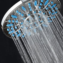AquaDance 7-inch 6-Setting Rainfall Showerhead with Anti-Microbial Microban Protection from Mold, Mildew, and Bacteria - Clog-Free Wave Blue Jets, Chrome Finish
