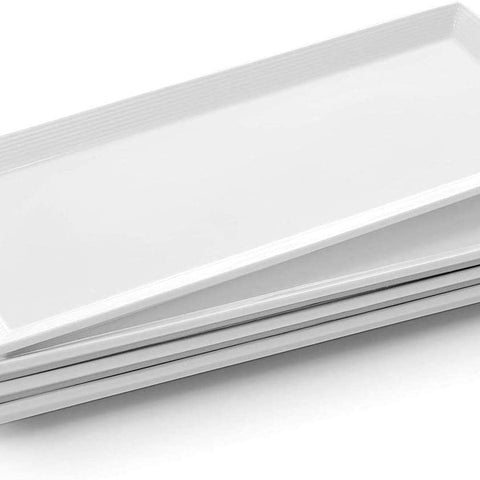 DOWAN Porcelain Rectangular Serving Platters - 14.5 Inches 4 Packs Long Rectangular Serving Plate Rectangle Platter for Meat, Appetizers, Dessert, Sushi, Party, White, Stackable