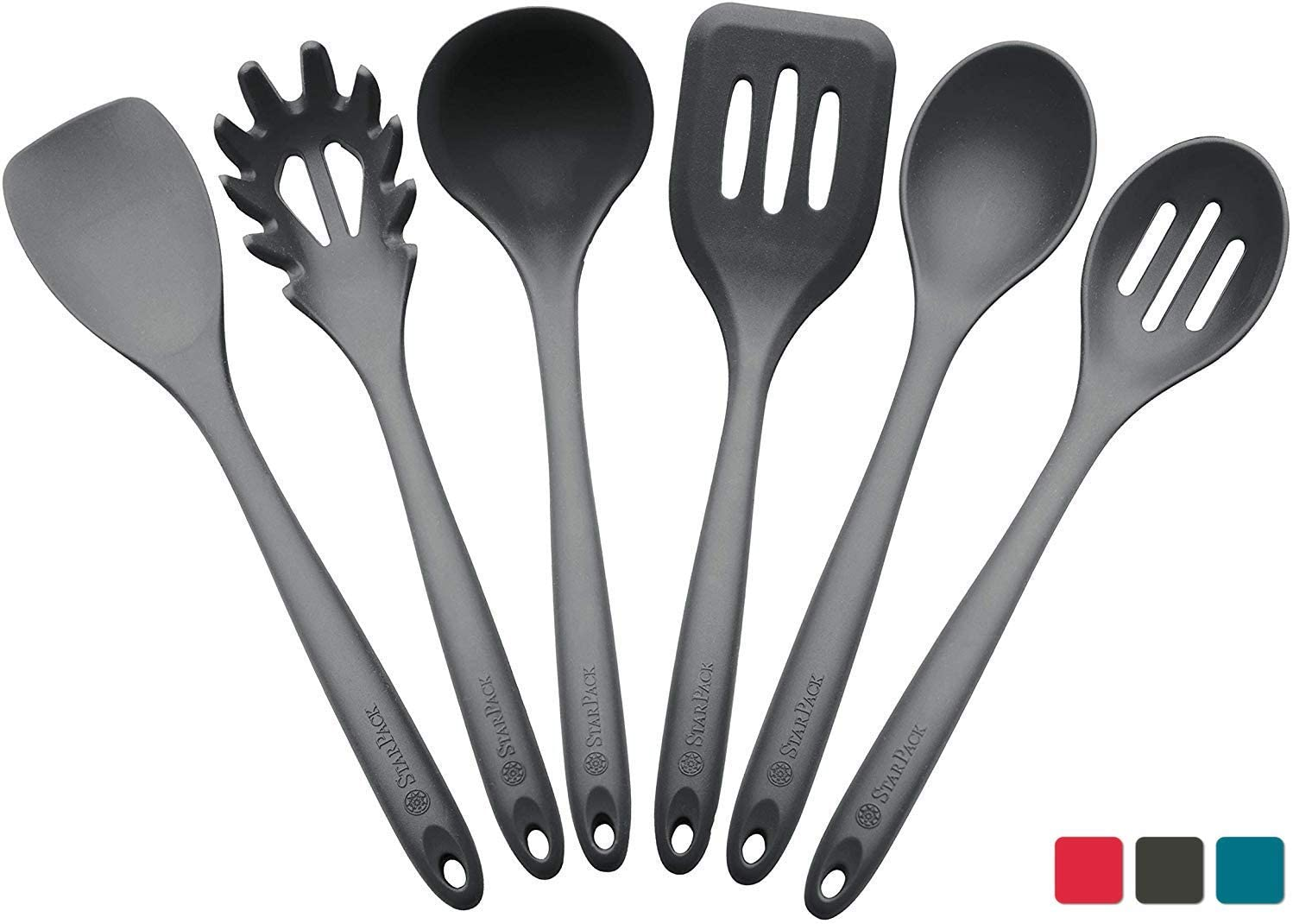 StarPack Basics XL Silicone Kitchen Utensil Set (6 Piece), High Heat Resistant to 480°F, Hygienic One Piece Design