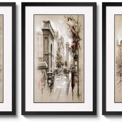 3 Panels Black Frames Giclee White Mat Artworks Black White and Gold Wall Art Canvas Prints Decor Framed Flowers Painting Poster Printed On Canvas Poppy Pictures for Home Decorations (A
