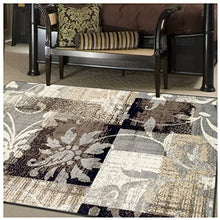 Superior Designer Pastiche Area Rug, Distressed Geometric Floral Patchwork Pattern, 8' x 10', Chocolate