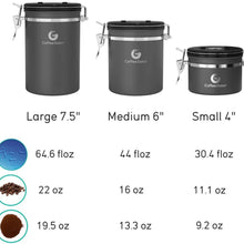 Coffee Gator Coffee Canister Stainless Steel Coffee Container - Fresher Beans and Grounds for Longer - Date-Tracker, CO2-Release Valve and Measuring Scoop - Large