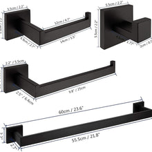 VELIMAX Premium Stainless Steel 4 Pieces Bathroom Hardware Accessories Set Wall Mounted Towel Bar Set, Matte Black