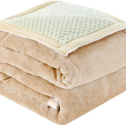 uxcell Reversible Fleece Blanket Queen Size,3 Layers Microfiber Plush Flannel Blankets for Bed,78