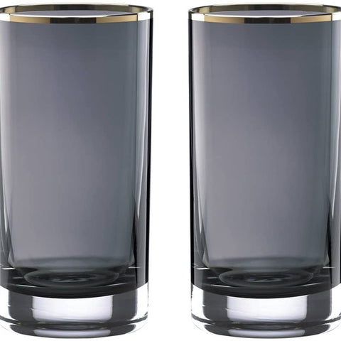 Lenox Kate Spade New York South Street CRYSTAL Hiball Bar Drinking Glasses, Set of 2 Size: 6 1/8