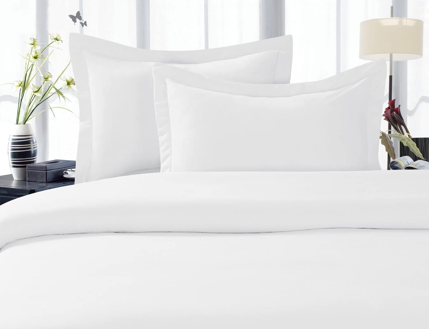 Elegant Comfort 1200RW- DVT Q White  1500 Thread Count Egyptian Quality 3 Piece Wrinkle Free and Fade Resistant Luxurious Duvet Cover Set, Full/Queen, White