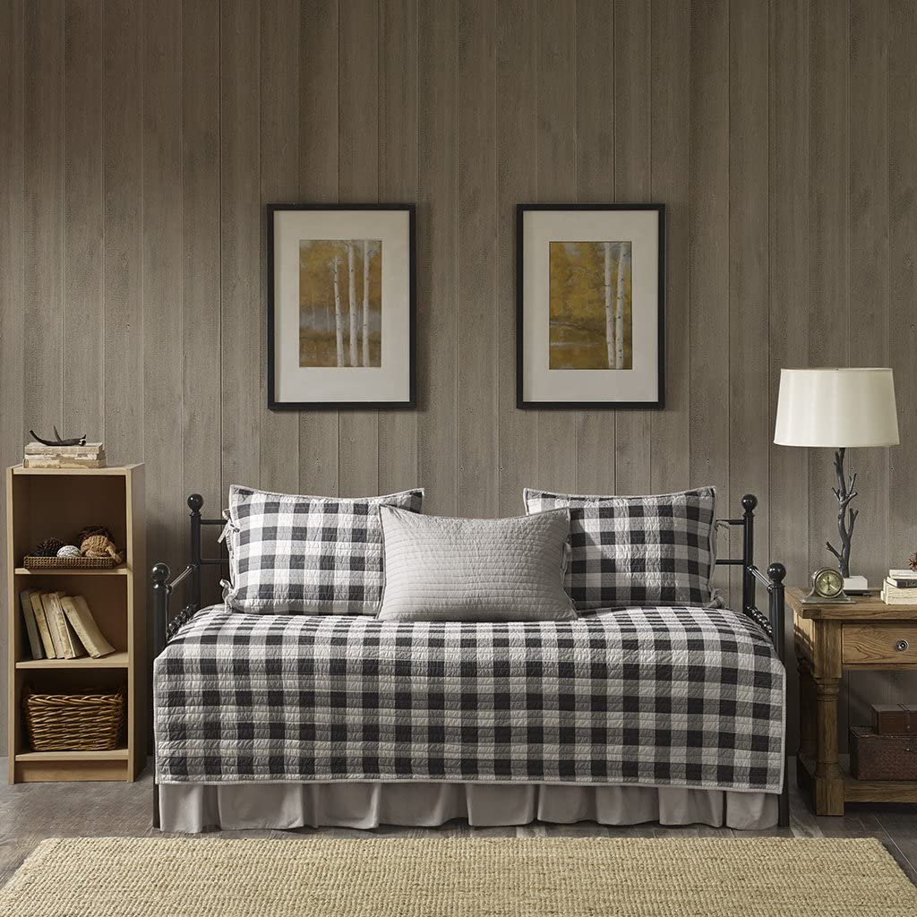 Woolrich Buffalo Check Daybed Size Quilt Bedding Set - Gray