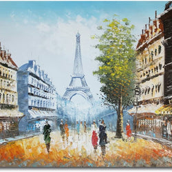 Muzagroo Art Hand Painted Paris Oil Painting Eiffel Tower Wall Art for Living Room Stretched Ready to Hang (Black and White)