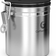 Coffee Gator Stainless Steel Container - Fresher Beans and Grounds for Longer - Canister with co2 Valve, Scoop and Travel Jar - Medium, Silver