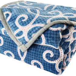uxcell Floral Flannel Fleece Blue Blankets Queen Size -Lightweight Microfiber Velvet Blanket for Spring/Autumn/Summer