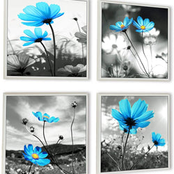 HLJ ART Modern Salon Theme Black and White Peacock Blue Vase Flower Abstract Painting Still Life Canvas Wall Art for Home Decor 12x12inches 4pcs/Set (Outer Frames
