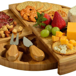 Picnic at Ascot Patented Bamboo Cheese Board/Charcuterie Serving Platter - Stores as a Compact Wedge- Opens to 13