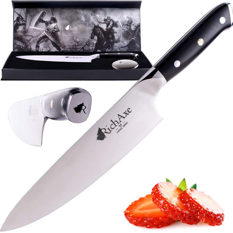 RICHAXE Chef Knife 8 inch - Full Tang, Forged Steel & High Carbon Chef Knife with 58+ Rockwell Hardness - Razor-Sharp Edge, G10 Handle for Complete Control, Stant & Rust Resistant Cooking Knife