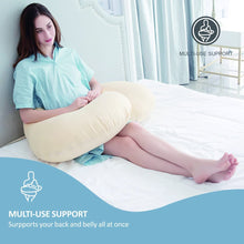 "puredown C Shaped Pregnancy Contoured Zippered Cover 27"" x 56"" Maternity Body Pillow"