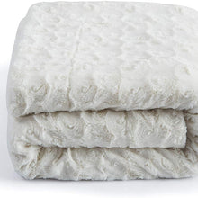 "DaDa Bedding Luxury Throw Blanket - Lap Fluffy Cuddly Rose Buds Soft Faux Fur Sherpa - Warm Plush Textured for Lap or Sofa - Bright Vibrant Blushing Rosey Baby Pink & White - 50"" x 60"""
