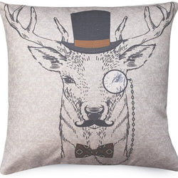 HOME MATE Deer with Eyeglasses Throw Pillow Covers for Sofa Couch Bed, Cotton Linen 18 x 18,Decorative Pillow Cushion Cases, Home Decoration,Hidden Zipper Square Pillowcases