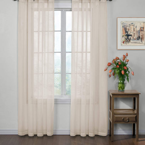 CURTAIN FRESH Arm and Hammer Odor Neutralizing Sheer Voile Window Curtains, Single Panel, 59