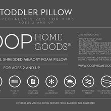 Coop Home Goods - Toddler Pillow (14x19) - Hypoallergenic Cross-Cut Memory Foam - Soft Touch Lulltra Washable Cover from Bamboo Derived Rayon - CertiPUR-US/GREENGUARD Gold Certified