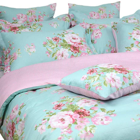 FADFAY Shabby Floral Duvet Cover Set Pink Grid Cotton Farmhouse Bedding with Hidden Zipper Closure 3 Pieces, 1duvet Cover & 2pillowcases
