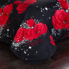 Floral Duvet Cover Set, Full Size Bedding Sets Soft Luxury 3D Red Rose Microfiber Comforter Cover, Bohemian Romantic Quilt Cover with Zipper Closure (Black Red, 3pcs
