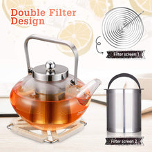 SULIVES Glass Teapot with Stainless Steel Infuser & Lid, Borosilicate Glass Flower Tea Kettle Stovetop Safe, Blooming & Loose Leaf Teapots