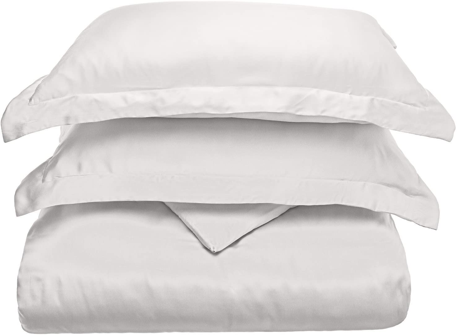 SUPERIOR 300 Thread Count Full/Queen Duvet Cover Set, 100% Modal from Beech, Solid, White