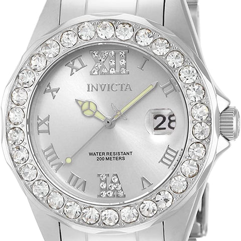 Invicta Women's 15251 Pro Diver Silver Dial Crystal Accented Stainless Steel Watch