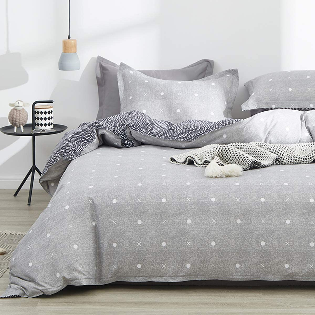 Uozzi Bedding King Duvet Cover Set Blue Gray & Triangles 3 Pieces (1 Spring Duvet Cover 104x90 + 2 Pillow Shams) 800 - TC Luxury Hypoallergenic Adult Soft 1 Comforter Cover with 2 Pillow Shams